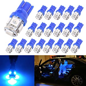 194 T10 W5W 5SMD 5050 Antline 12v LED Light Bulb Blue 2825 158 192 168 for Car/Motor Interior Dome Parking Side Turn Signal Dashboard License Number Plate Light Bulbs Lamp (pack of 20)