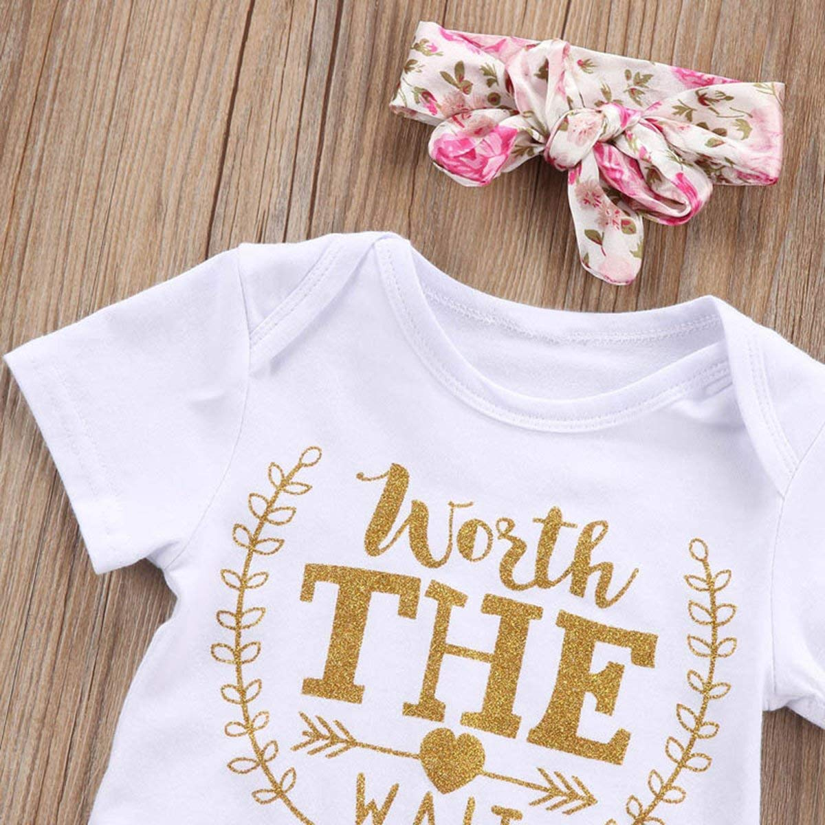 3Pcs Cute Worth The Wait Outfits Onesie Newborn Baby Boy Girl Onsie Set Bodysuits Short Sleeve Romper Jumpsuit Clothes