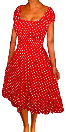 2eef63c60c4 Funfash Plus Size Women Polka Dots Rockabilly Retro Cocktail Dress Made in  USA Red