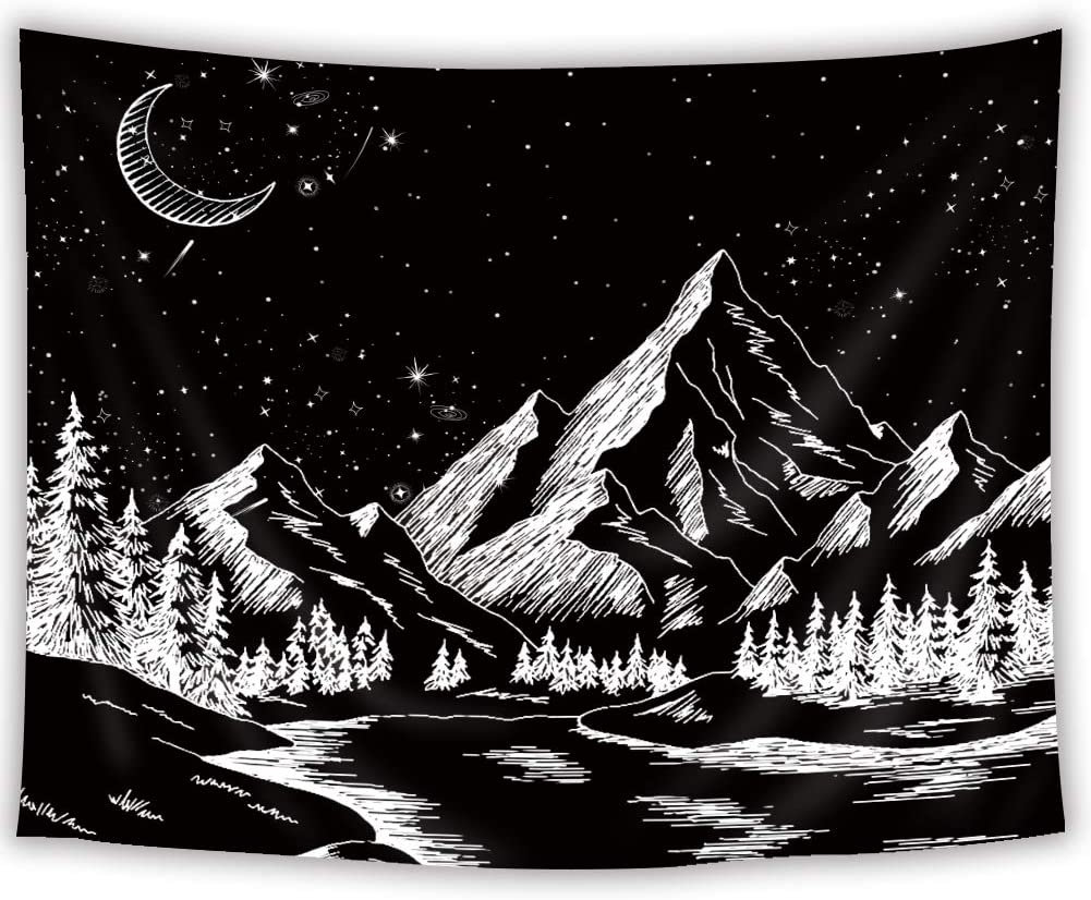 SVBright Mountain Moon Forest Trees Tapestry 51Hx59W Inch Black and White Nature Landscape Art Wall Hanging Bedroom Living Room Dorm Decor Fabric
