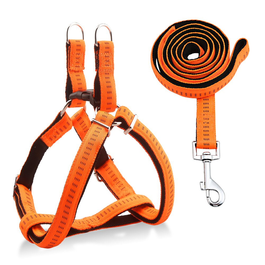 URPOWER Dog Harness Durable dog Leash Heavy Duty & Adjustable Dog Collar Anti-Twist Dog Leash Harness for Small Medium & Large Dogs Perfect for Walking Running Training (L (17''-27.5'' Chest Girth))