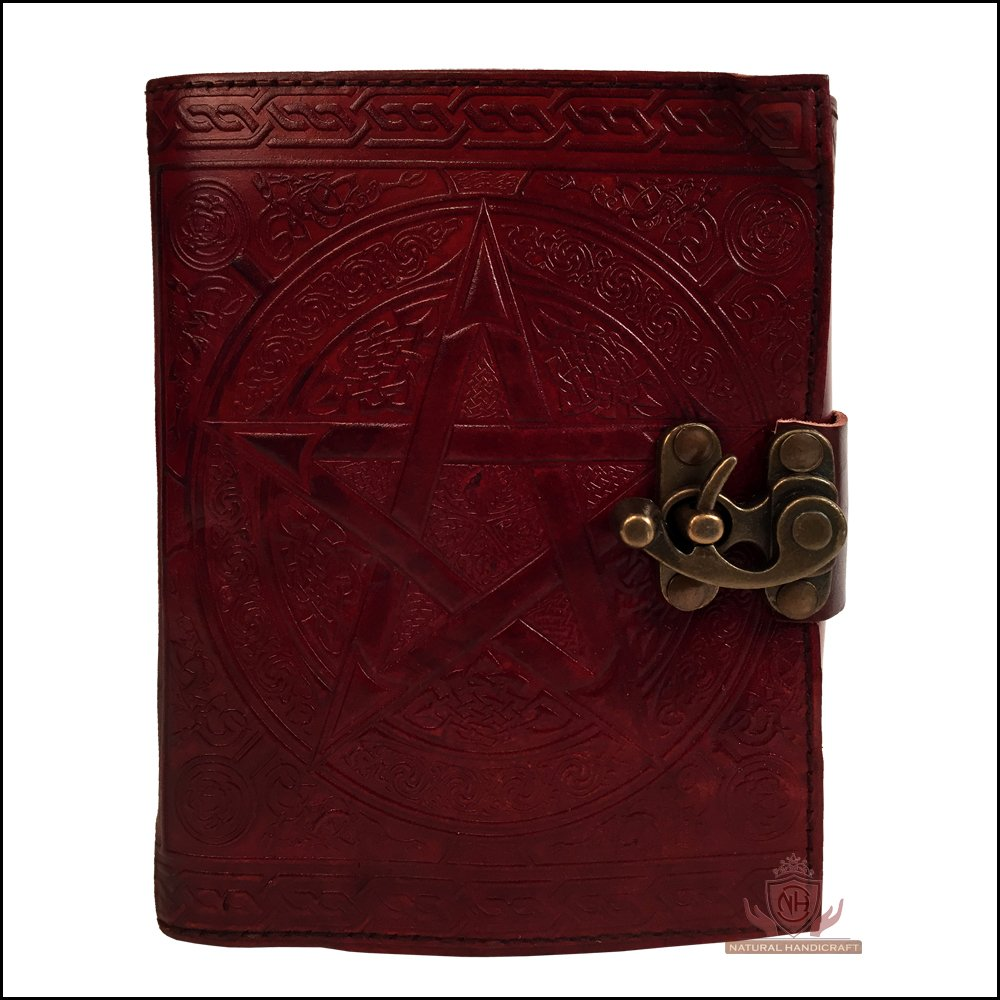 Leather Journal Pentagram Embossed Brown Handmade Pentacle Wicca Pagan Personal Organizer Daily Planner Notebook Office Diary College Book Sketch Book Office Supplies 5 x 7 Inches