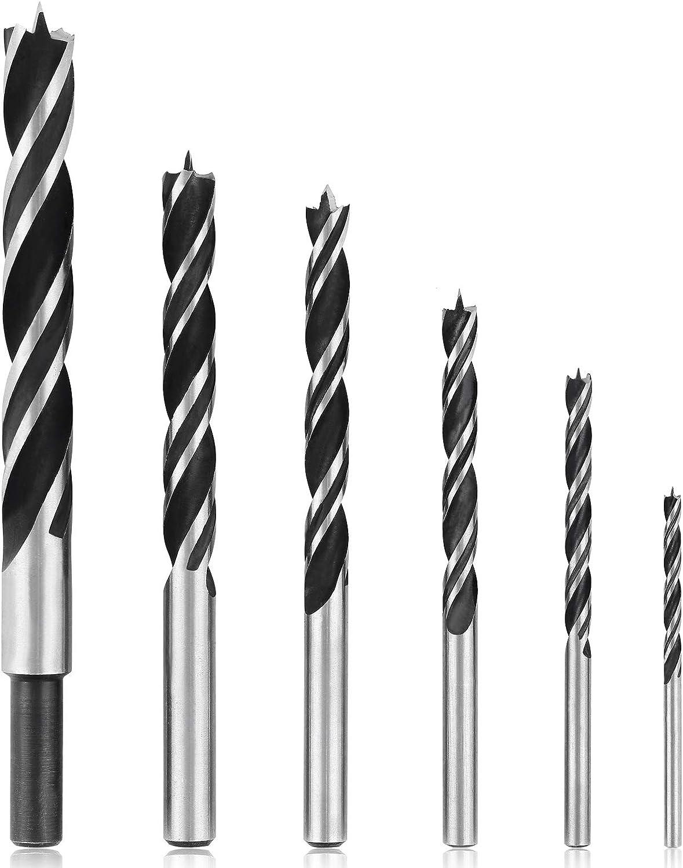 7pcs//set 300mm Extra Long Brad Point High-carbon Steel Wood Drill Bit Set Three Point Woodworking Drill