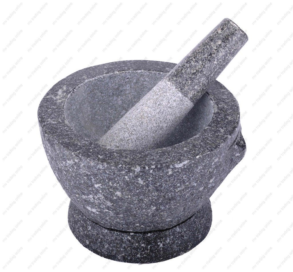 DDPremium MMTP72V Kruk Thai Stone (Granite) Mortar and Pestle, 2+ Cup Capacity, 7 inch, Natural Color