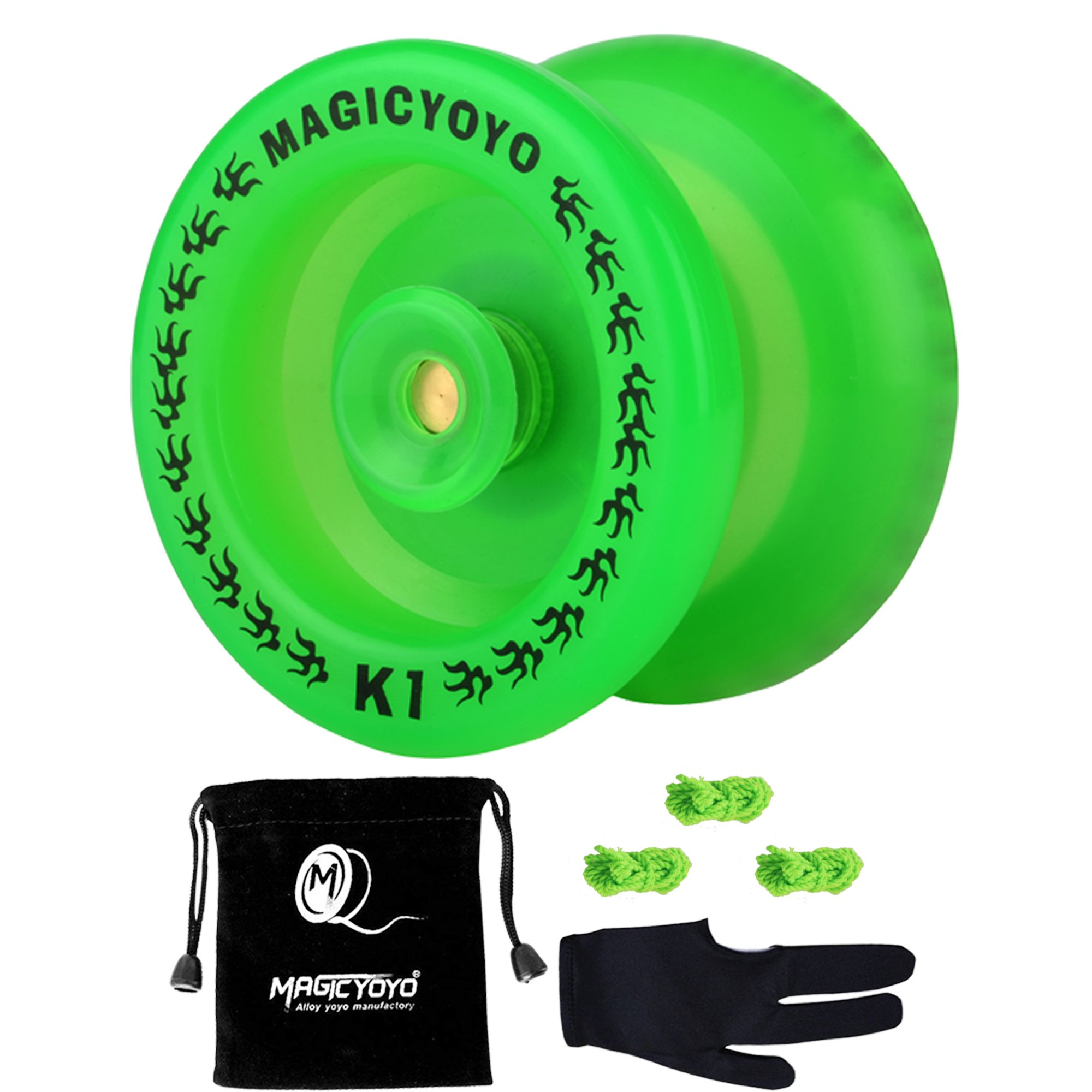 MAGICYOYO Non-Responsive K1 YoYo Glow in The Dark Green YoYo Kids Friends +Yo-yo Glove Gift+Yo-yo Sack+3 Strings