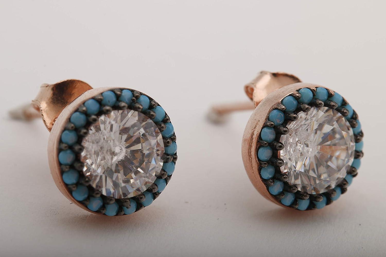 Turkish Handmade Jewelry Small Round Shape Topaz 925 Sterling Silver Stud Earrings