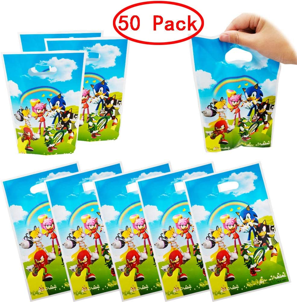 Amazon Com 50 Packs Sonic The Hedgehog Party Gift Bags Sonic The Hedgehog Gift Bags Party Supplies For Kids Cute Sonic The Hedgehog Themed Party Birthday Decoration Gift Bags Well For Girls Or