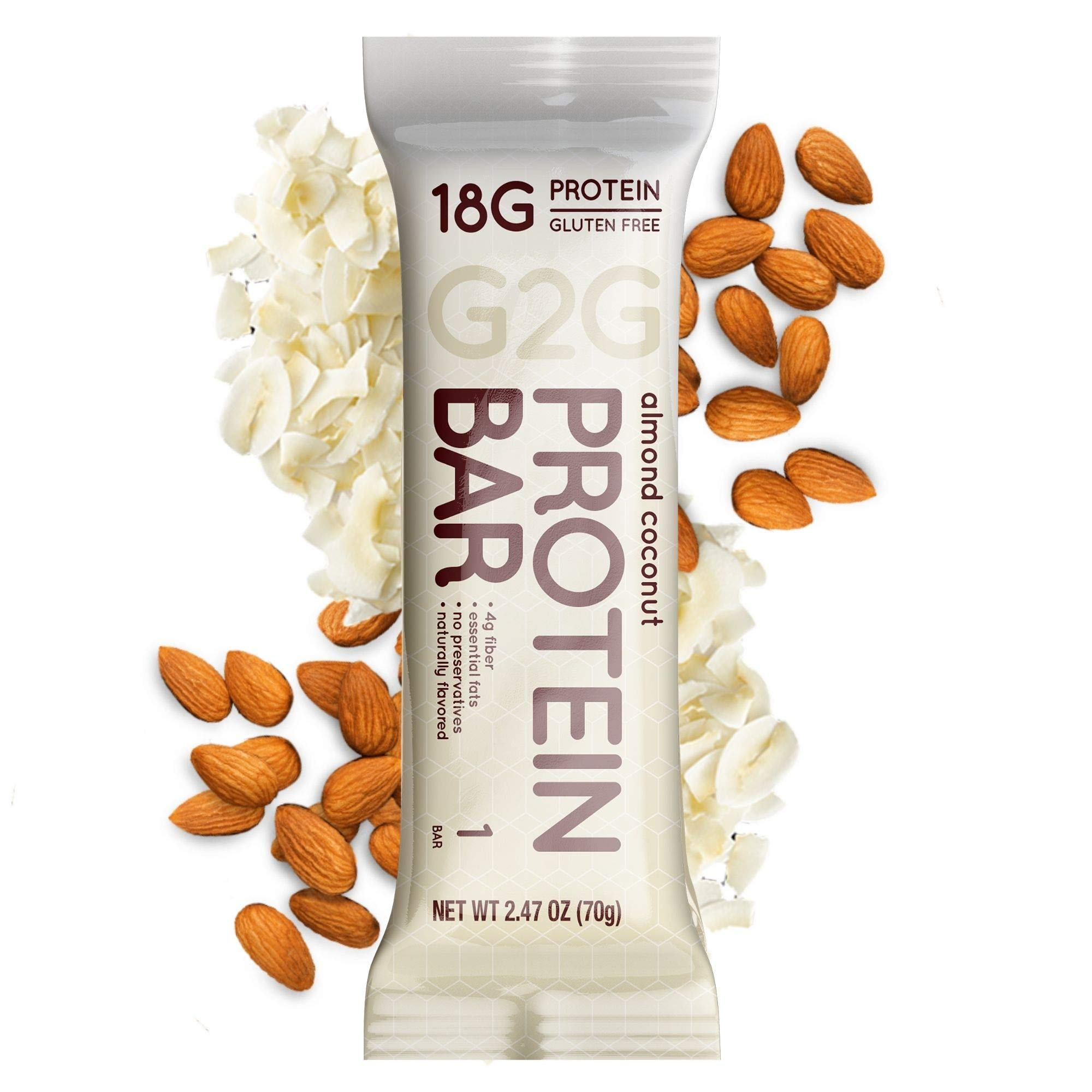 G2G Protein Bar, Almond Coconut, Healthy Snack, Delicious Meal Replacement, Gluten-Free, Clean Ingredients, Refrigerated for Freshness, 8 Count (Pack of 8)