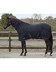 QHP Fleecedecke Abschwitzdecke Basic mit Halsteil Kreuzgurte blau + schwarz