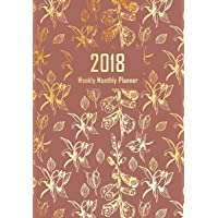2018 Planner Weekly Monthly, Calendar Schedule Organizer: Golden Vintage Flowers, Planner Notebook with Inspirational Quotes on Each Weekly Spread, Diary 2018 for Women, 17x24 CM