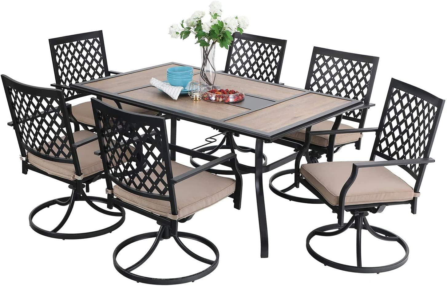 Sophia William Patio Dining Set 7 Pieces Outdoor Metal Furniture Set