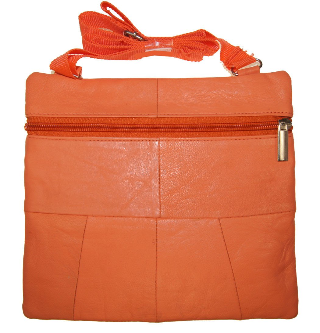 Orange Ladies Genuine Leather Cross Body Bag Satchel Messenger Bag 48'' Strap by Wallet (Image #2)