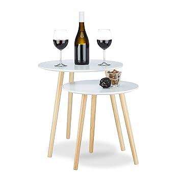 Relaxdays Beistelltisch 2er Set Skandinavisch, 70er Design, Nachttische,  Satztische, Durchmesser 39 Und
