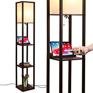 Brightech Maxwell LED Shelf Floor Lamp with Wireless Charging Pad - for Living Rooms & Bedrooms, 2 USB Ports & 1 Electric Outlet - Modern Standing Light - Asian Display Shelves - Havana Brown