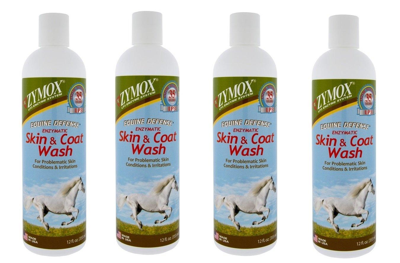 ZYMOX Equine Horse Defense Enzymatic Skin and Coat Wash 12 oz Bottle 4 Pack