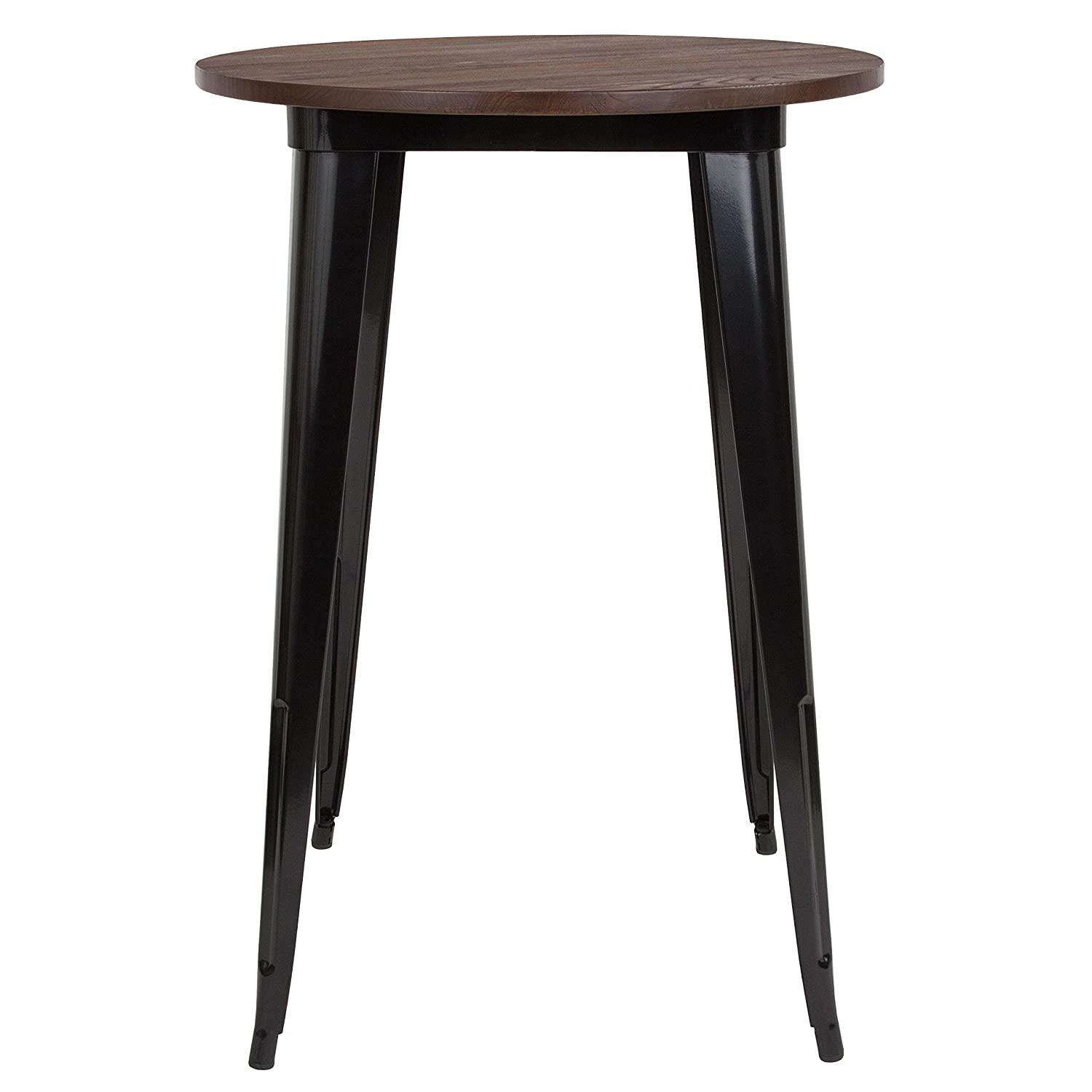 Super Taylor Logan 30 Inch Round Metal Indoor Bar Height Table With Walnut Rustic Wood Top Black Theyellowbook Wood Chair Design Ideas Theyellowbookinfo