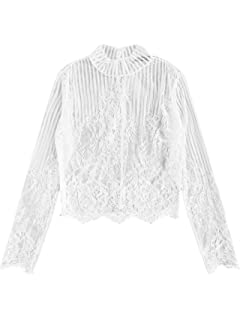 8c055e5ac5373 Felicity Young Women s Sexy Summer Long Puff Sleeve Mock Neck Mesh ...