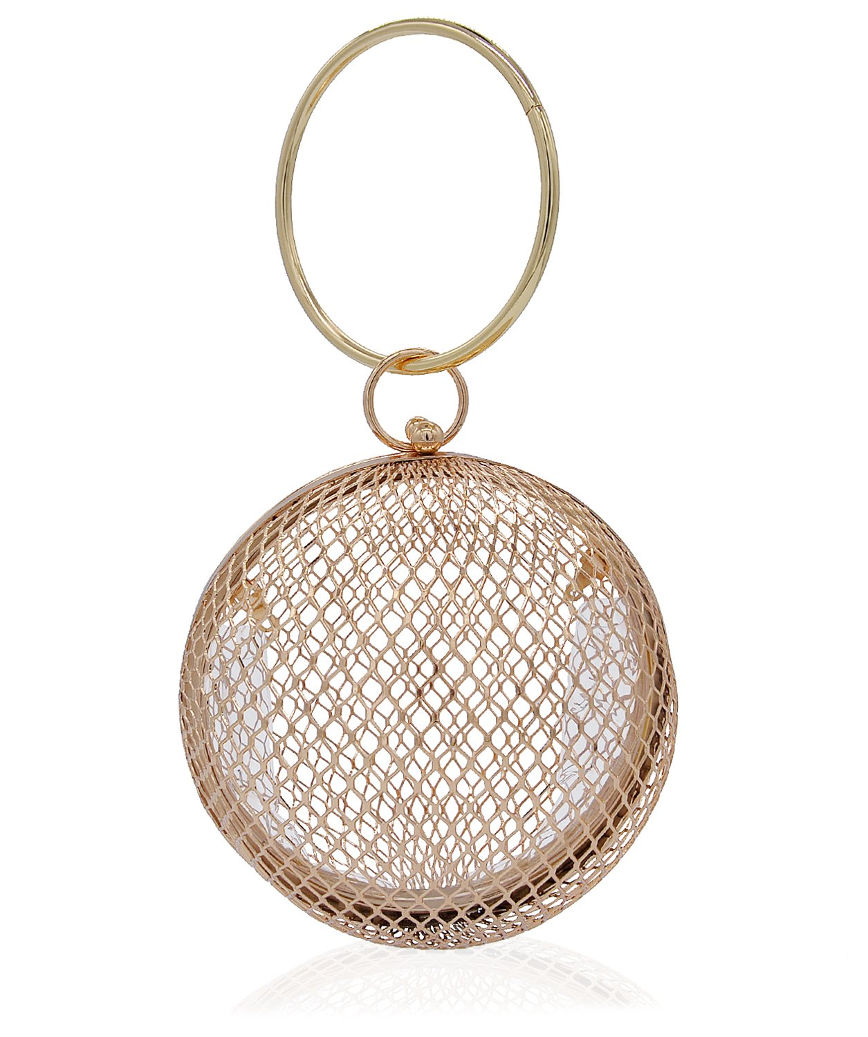 Miuco Women Chain Crossbody Bags Hollow Out Cage Metal Round Clutch Gold