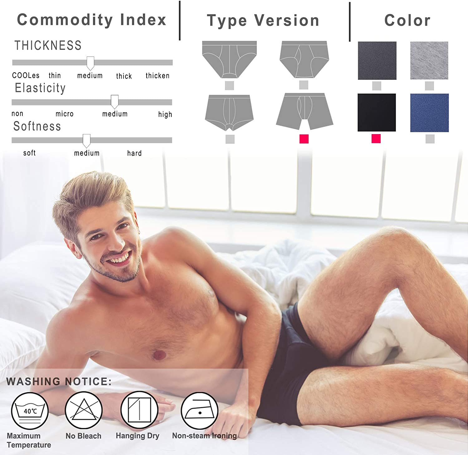 Ultimate Soft Cotton 4-Pack or 8-Pack Boxer Briefs with Fly LoBeaus Mens Underwear Trunks Long Leg Length