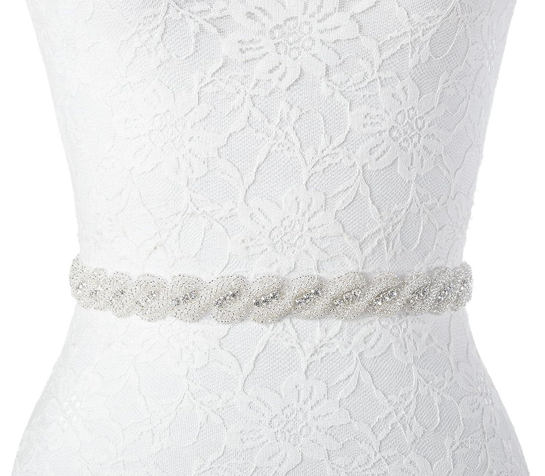 Redowa Rhinestone Beaded Wedding Dress Bridal sash belt