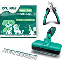 J RUM™ Pet Supplies Grooming Brush, Dog and Cat Hair Remover Self Cleaning Slicker, Nail Clipper and Steel Comb, 3 in 1…