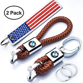 Goshion 2Pack Genuine Leather Car Logo Keychain Suit for BMW 1 3 5 6 Series X5 X6 Z4 X1 X3 X7 7 Series M Key Chain Keyring Family Present for Man and Woman