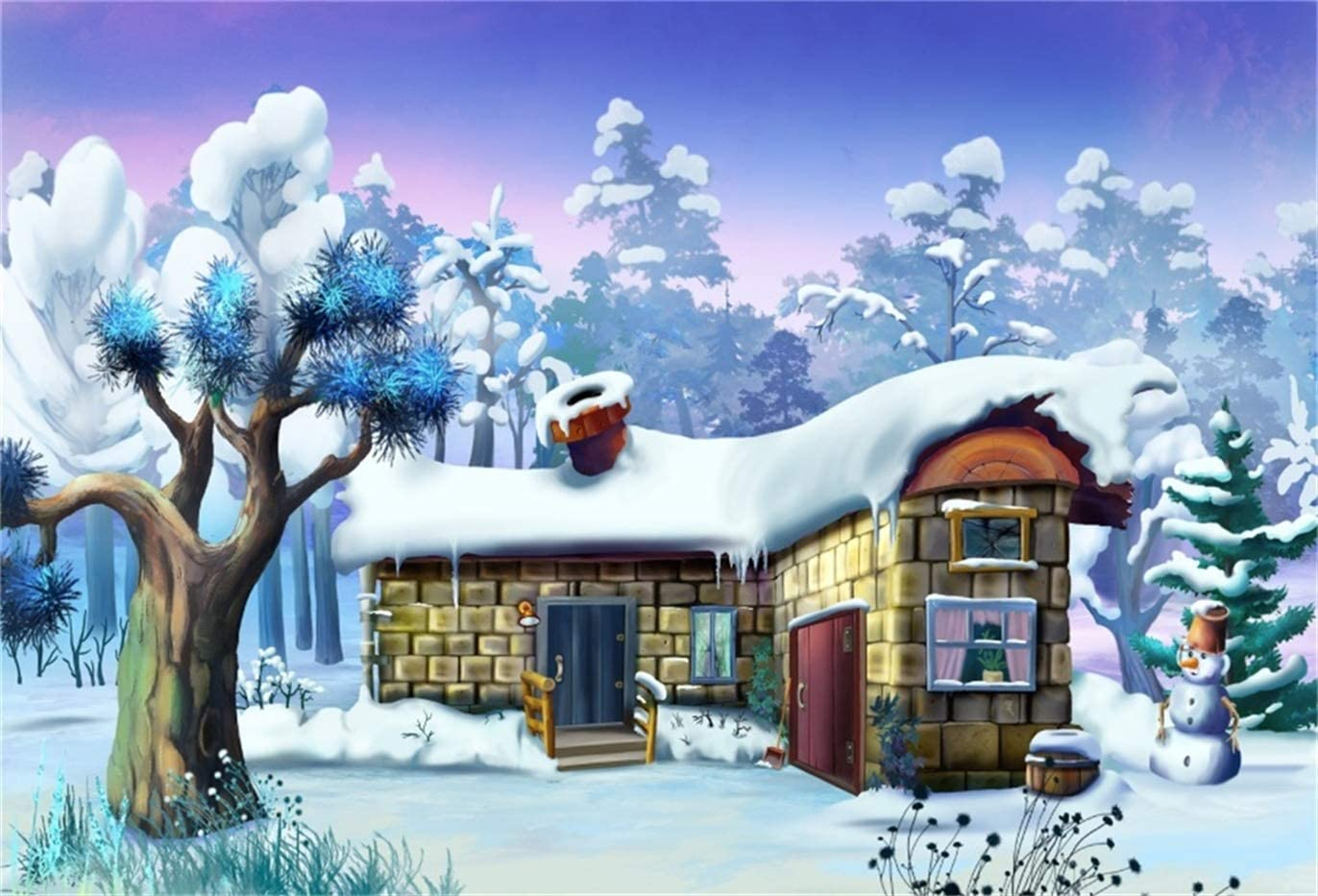 GoEoo 7x5ft Winter Forest Cabin with Chimney Background Snow Covered Tree Snowman Photography Backdrop Cartoon Woods House Snowfield Photo Studio Props Christmas Holiday Happy New Year Vinyl Banner
