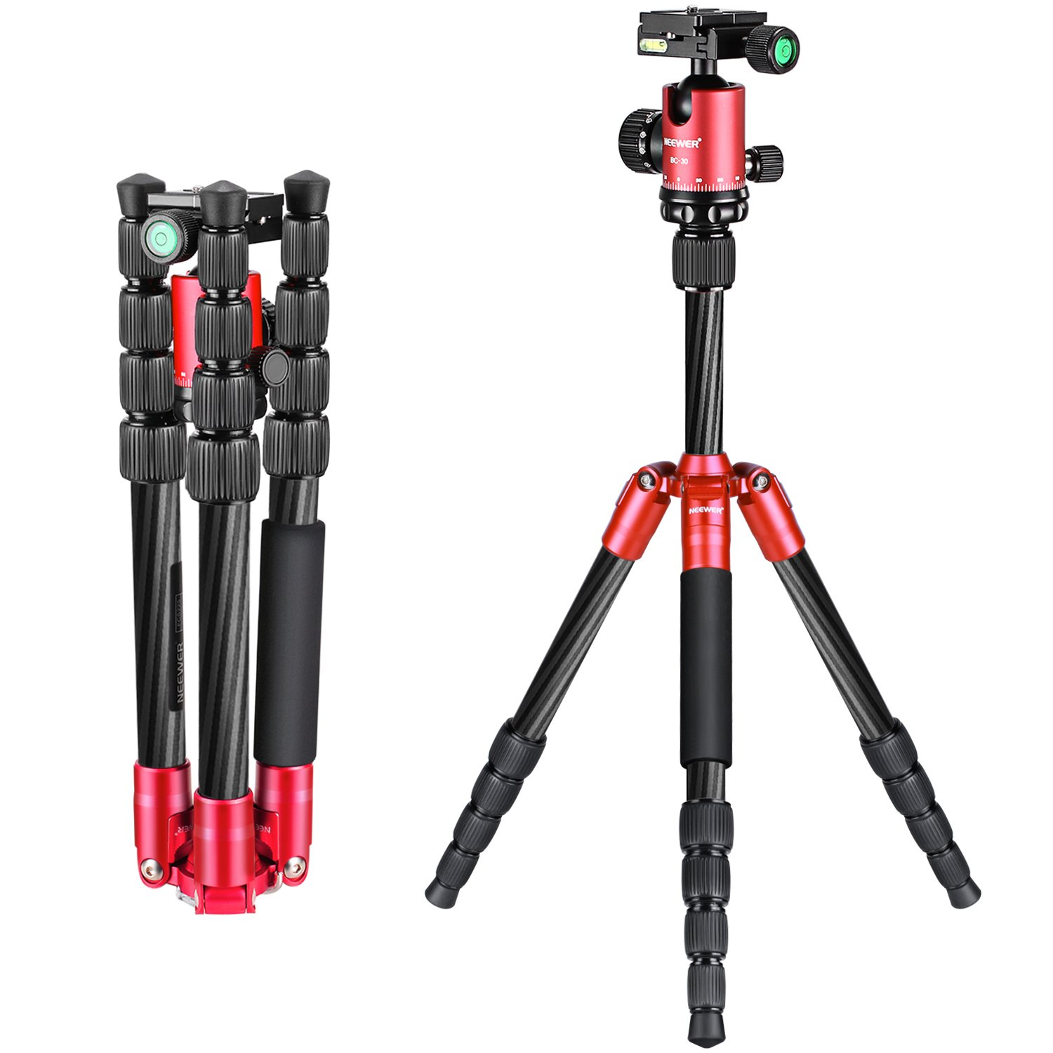 Neewer Carbon Fiber 56 inches/141 centimeters Portable Mini Tripod with 360 Degree Ball Head,1/4 inches Quick Release Plate, Bag for Canon Nikon Sony Camera, Camcorder, up to 6.6 pounds/3 kilograms by Neewer