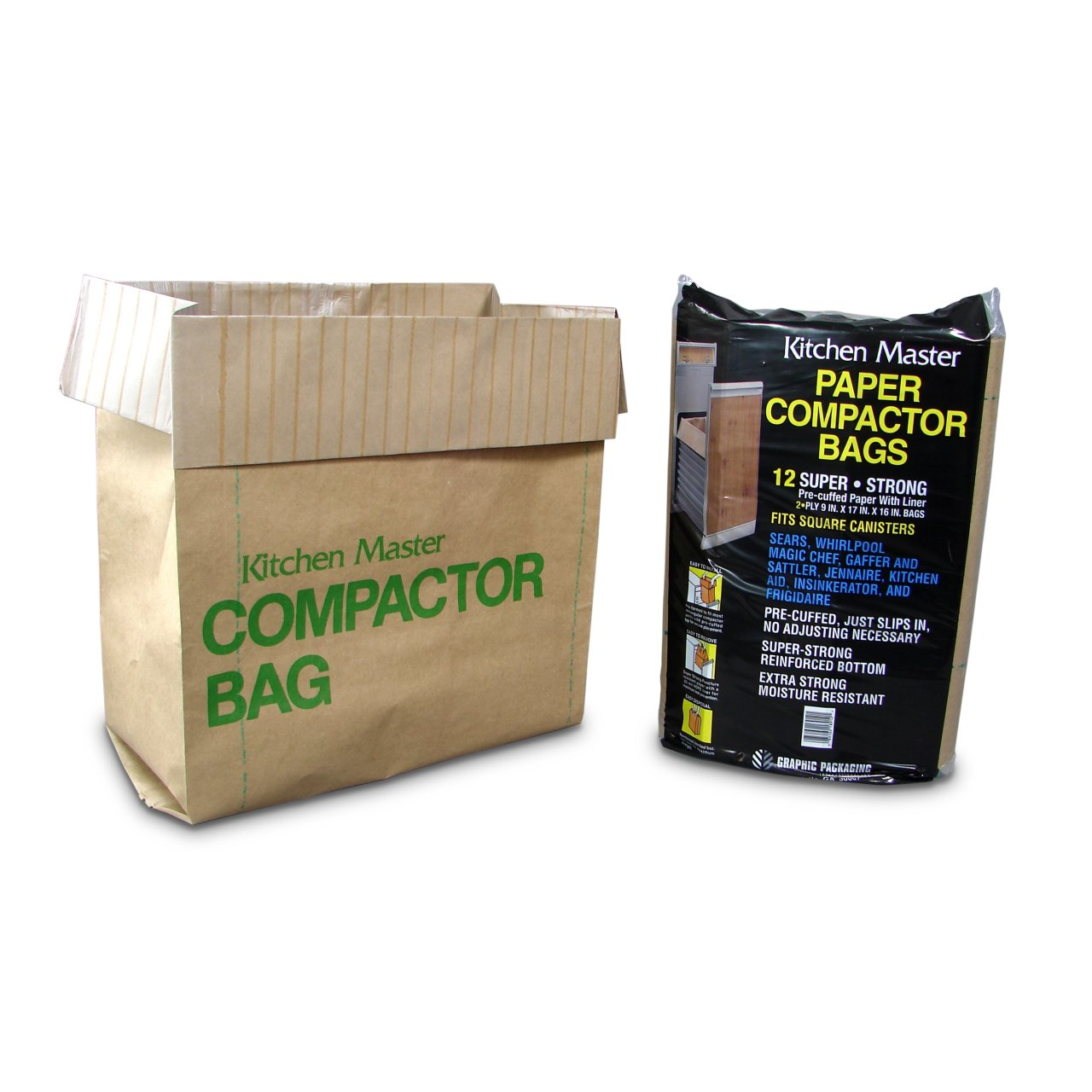 Amazon.com: Kitchen Master Super Strong Compactor Bags Pre Cuffed (12  Pack): Home Improvement