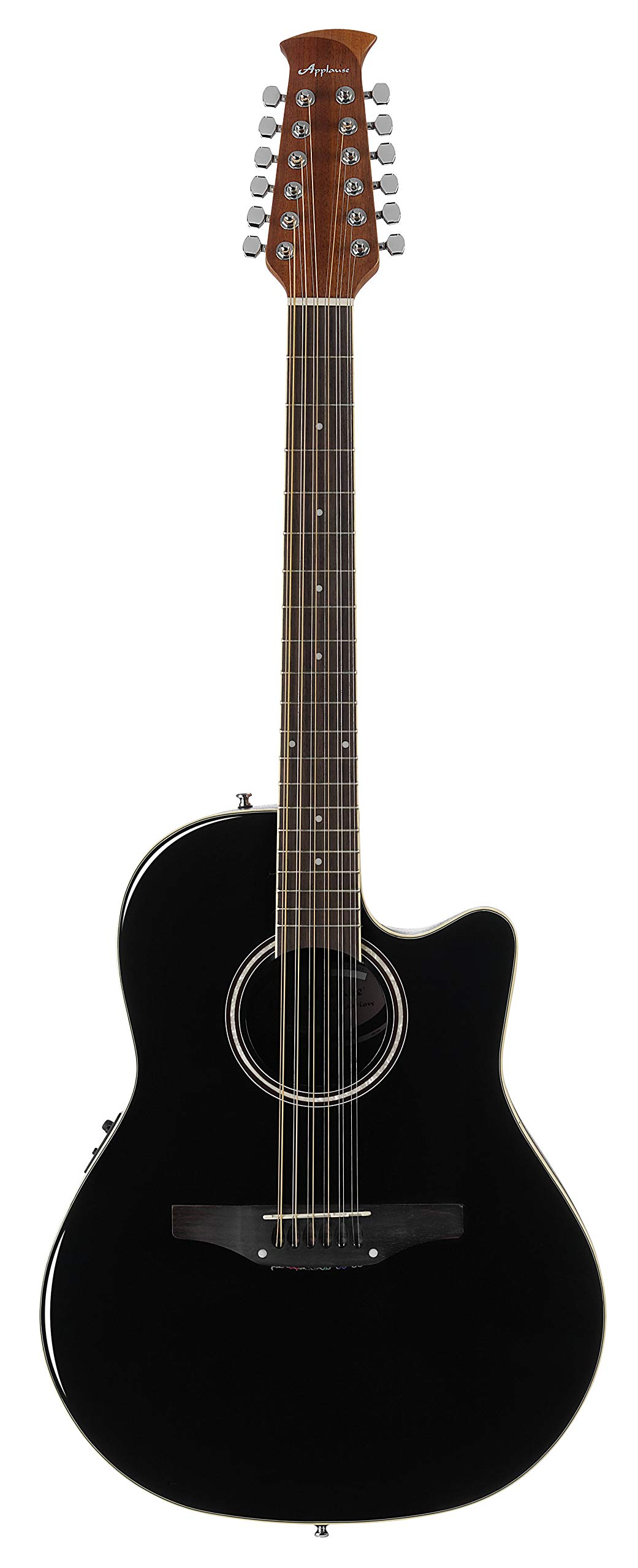 Ovation Applause 12 String Acoustic Guitar, Right, Black, Mid Depth Body (AB2412II-5) by Ovation
