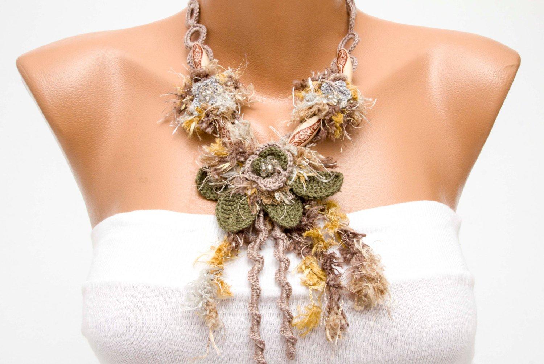 crochet oya necklace Bip  necklace crochet bip necklace,crochet necklace fiber necklace