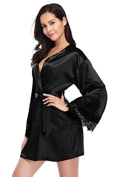 Santou Satin Kimono Robe for Women Long Sleeve Lace Trim Bathrobes Sleepwear  Nightwear Black Small e4373ac55