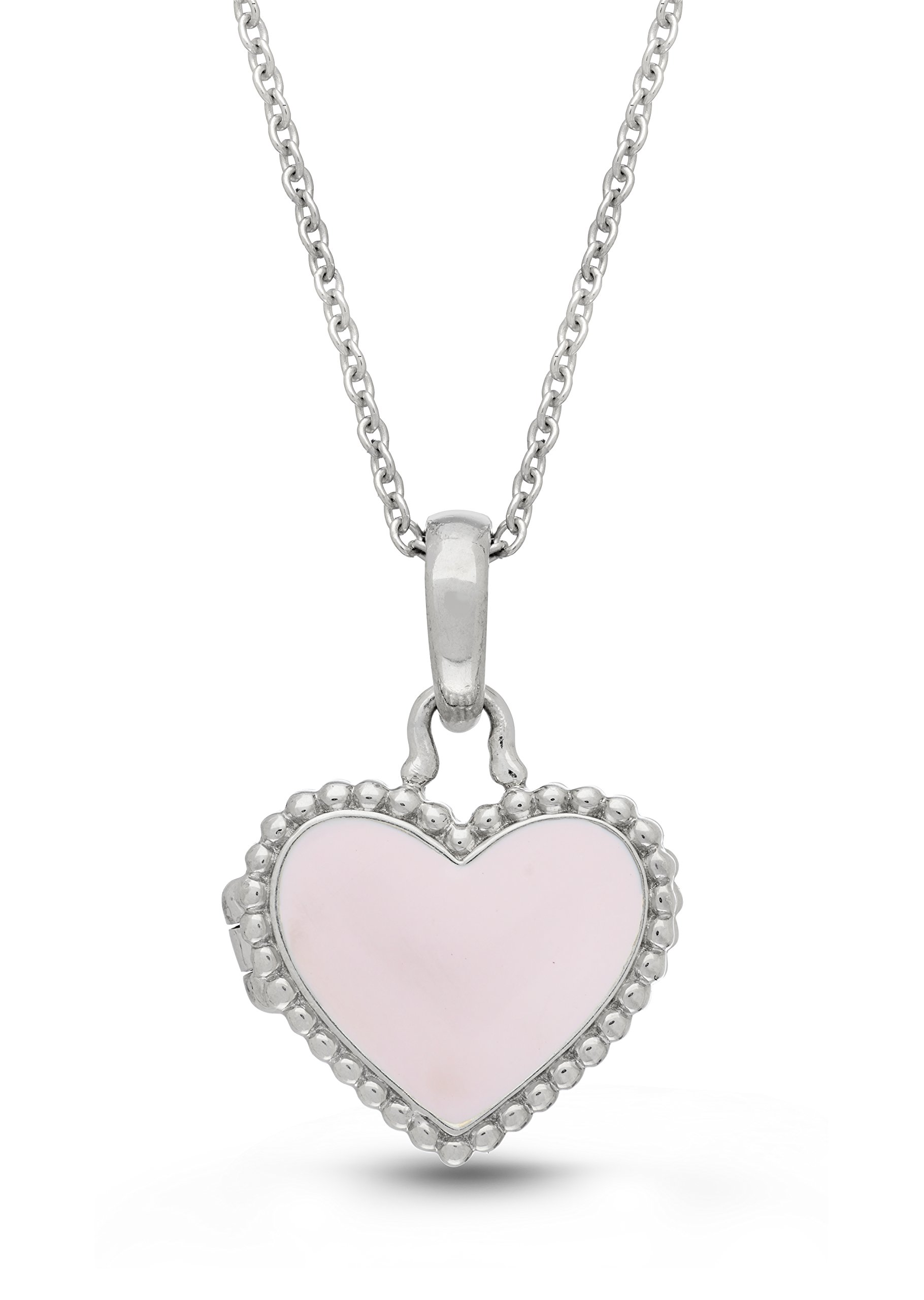 Sterling Silver-Pink Enamel-Custom Photo Locket Necklace-36-inch chain-The Olivia by With You Lockets