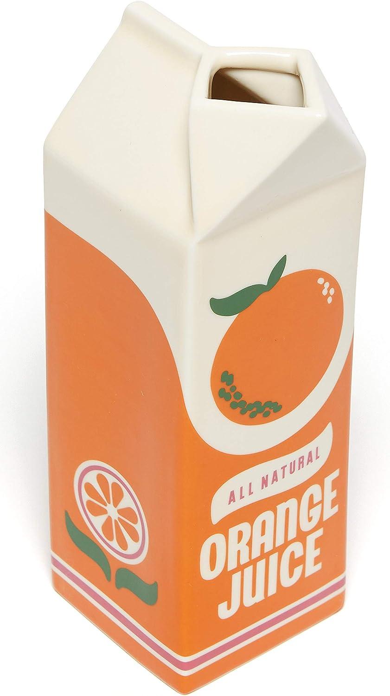 ban.do Vintage Inspired Rise and Shine Decorative Ceramic Vase, Unique Home/Kitchen/Office Accent, Orange Juice
