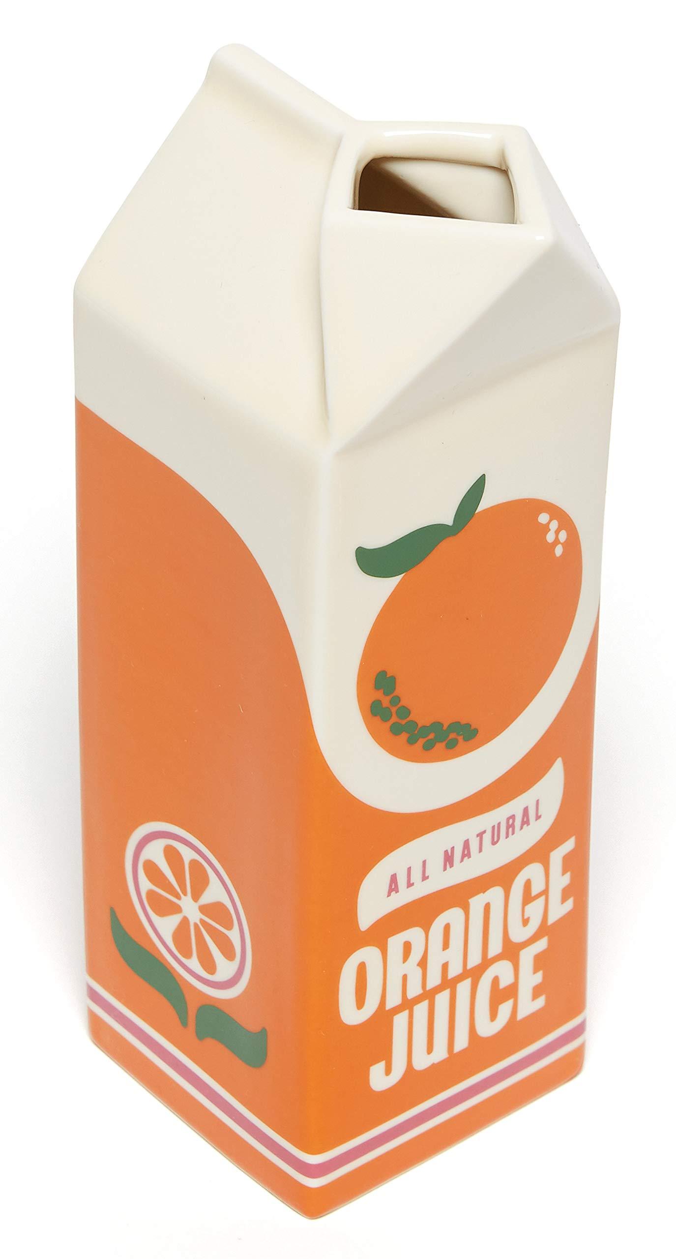 ban.do Vintage Inspired Rise and Shine Decorative Porcelain Vase, Orange Juice