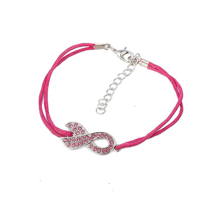 fishhook Kristall Pink Ribbon Anti Brustkrebs Inspirierende Wachs Kordel Geschenk Armband für Frauen