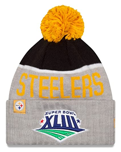 3ccea388 Image Unavailable. Image not available for. Color: Pittsburgh Steelers New  Era NFL Super Bowl XLIII Logo Gray Sport Knit Hat
