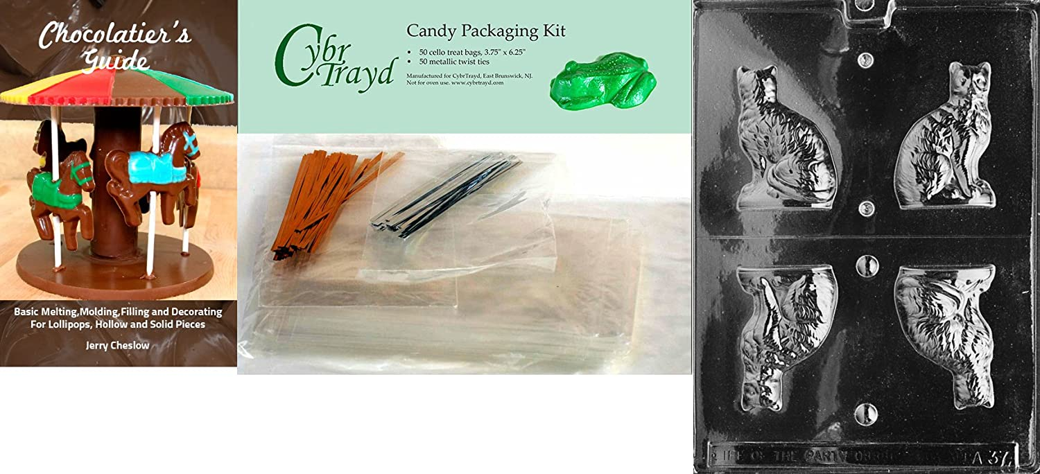 25 Silver and 25 Gold Twist Ties Includes 50 Cello Bags Cybrtrayd 3D Cat Animal Chocolate Candy Mold with Chocolatiers Bundle
