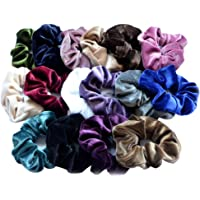 Frcolor Velvet Elastic Hair Scrunchies Hair Ties For Women, 16 Pieces With 16 Colors