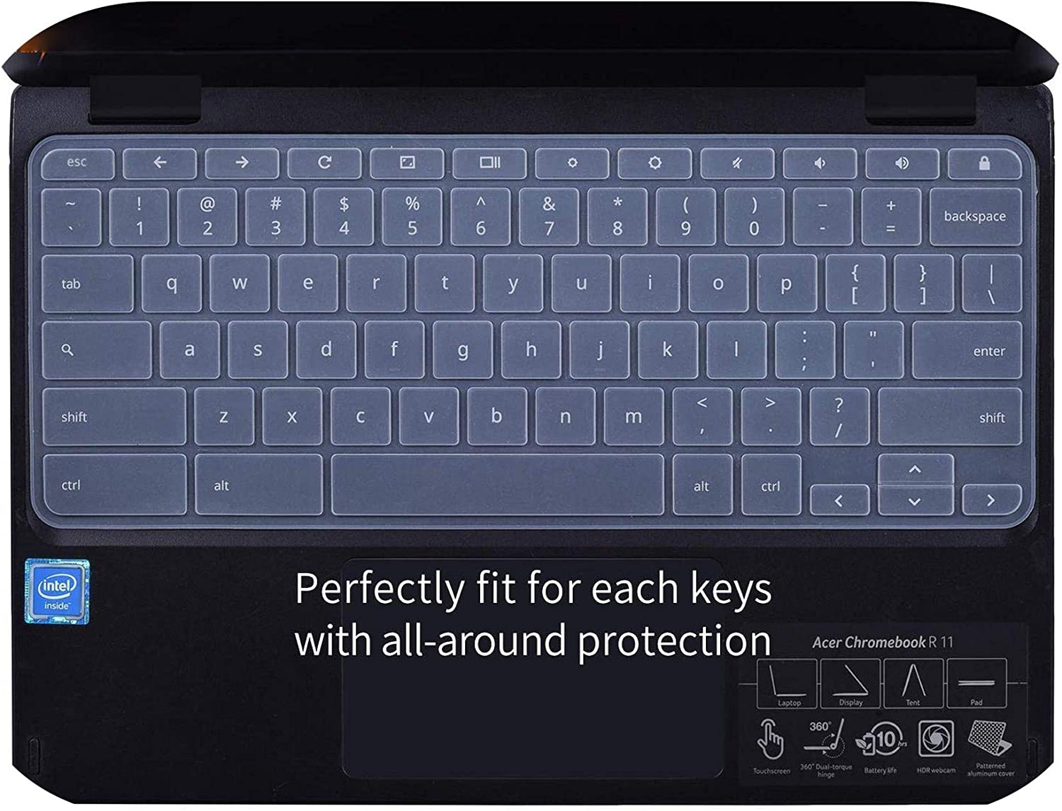 Laptop Keyboard Cover Protector Skin for 2018/2017 Newest for Acer R11 11.6 / Chromebook 11 CB3-131 CB3-132 / R 11 CB5-132T-transparent-