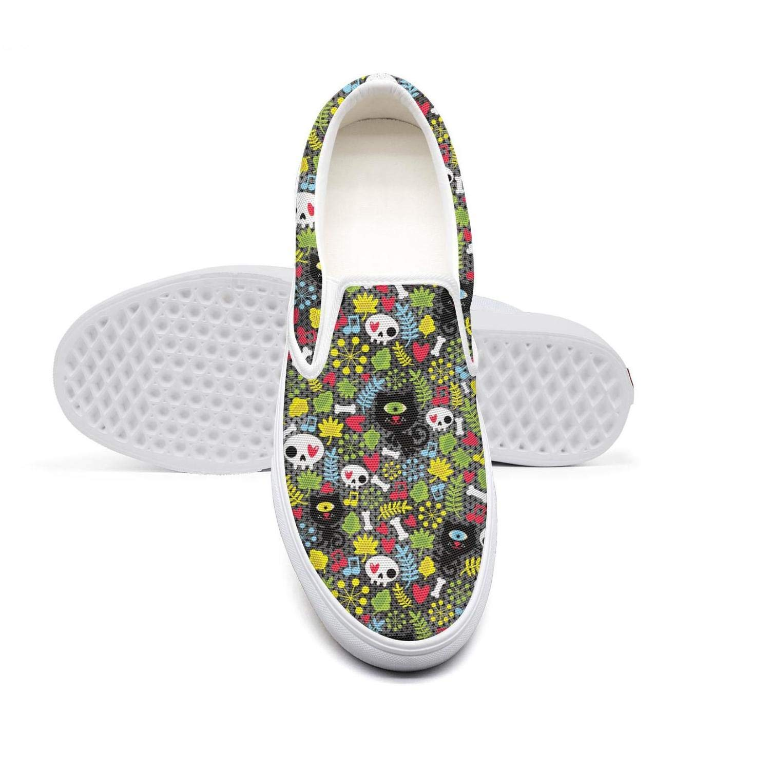 Skull Floral Monocular cat Classic Women Canvas Slip-Ons Loafer Shoes Sneaker