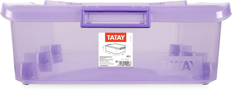 45 x 78 x 18 cm Fucsia Tatay 1151112 Caja de Almacenamiento Multiusos bajo Cama con Tapa y Ruedas 63 l de Capacidad pl/ástico Polipropileno Libre de bpa