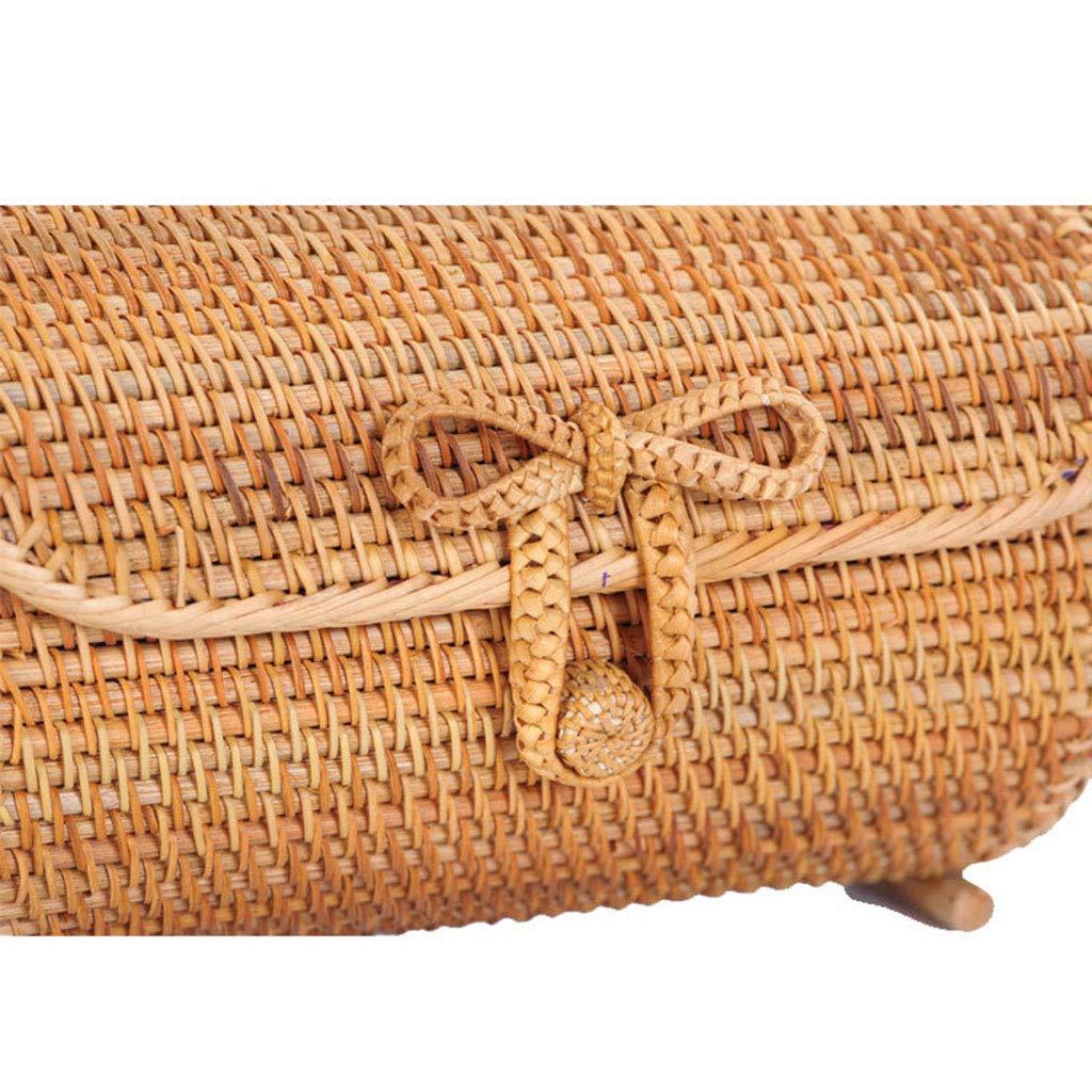 Women's Bag, Rattan Bag - Cylindrical - Slung - Beach Bag - Flower Lining - Retro Travel Bag by BHM (Image #3)