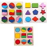 MagiDeal 3 Juegos Rompecabeza de Madera Multicolor Bloque de Geometría Juguete Educativos Niños