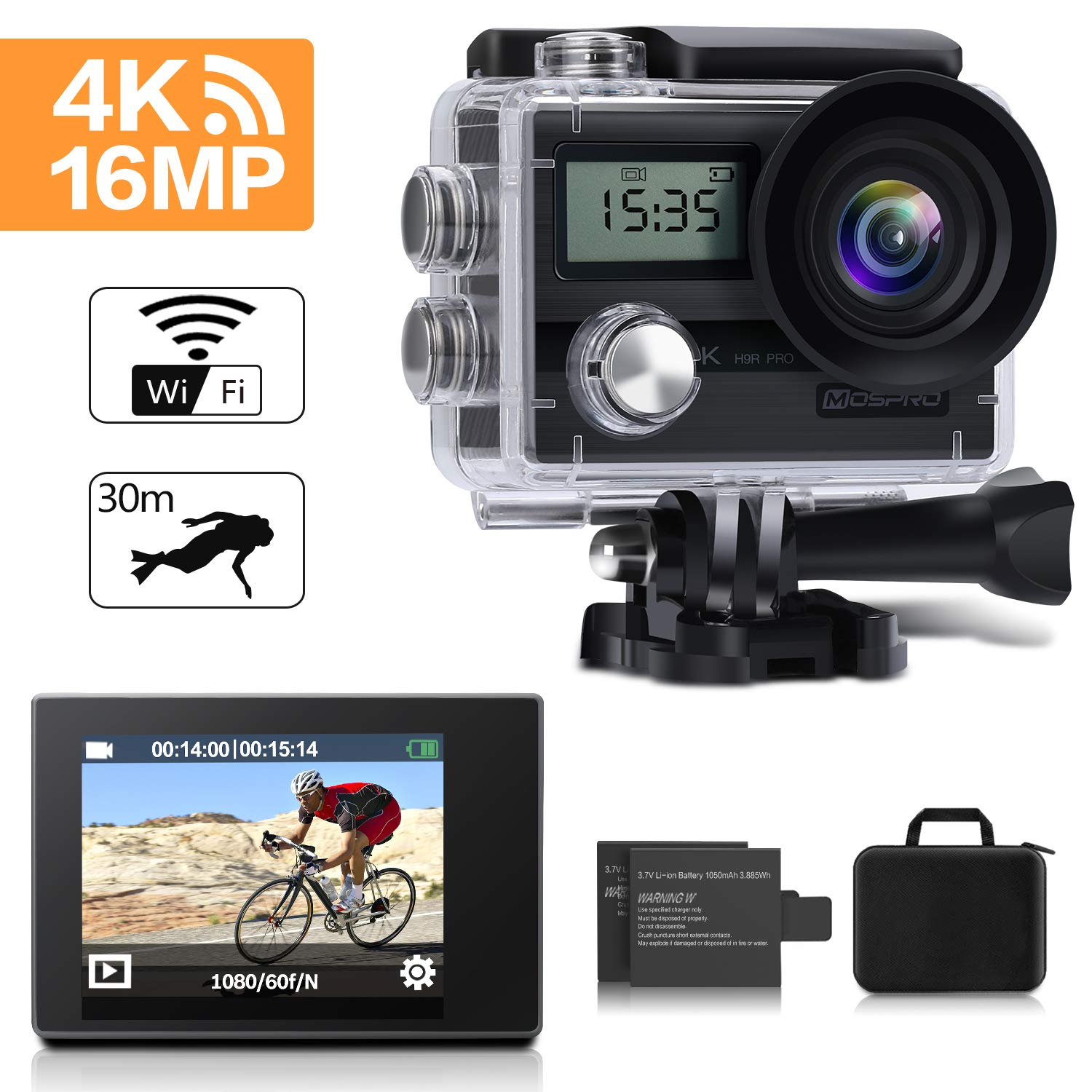 Action Camera, MOSPRO 4K 16MP Dual Screen WiFi Waterproof Sports Cam 170 Degree Wide Angle DV Camcorder with 2 Rechargeable Batteries 19 Mounting Accessories Kit