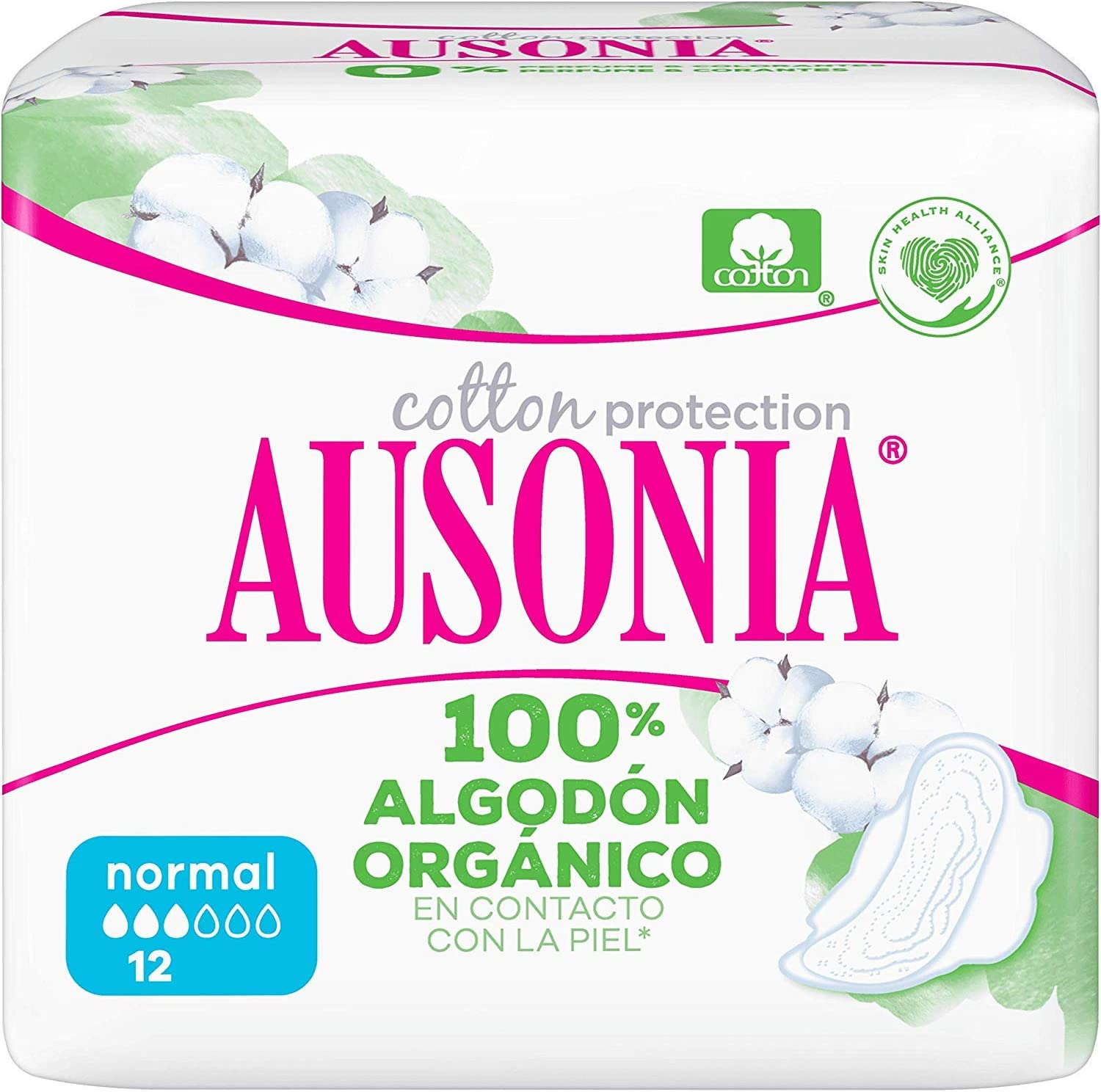 Ausonia Cotton Protection Normal (tamaño 1) Compresas Con Alas, 12 ...