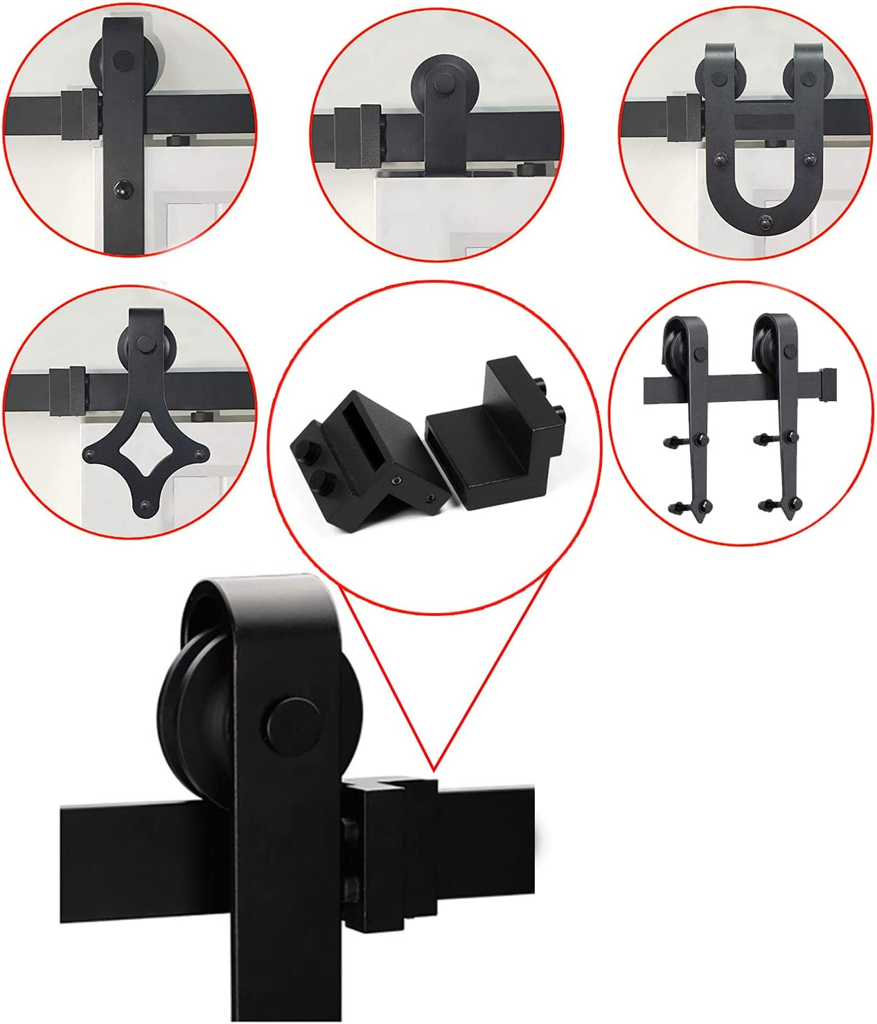 Perfect Replacement Sliding Barn Door Hardware Accessories YITUO 2PCS Black Steel Stopper Limit Device for Sliding Barn Door Flat Track