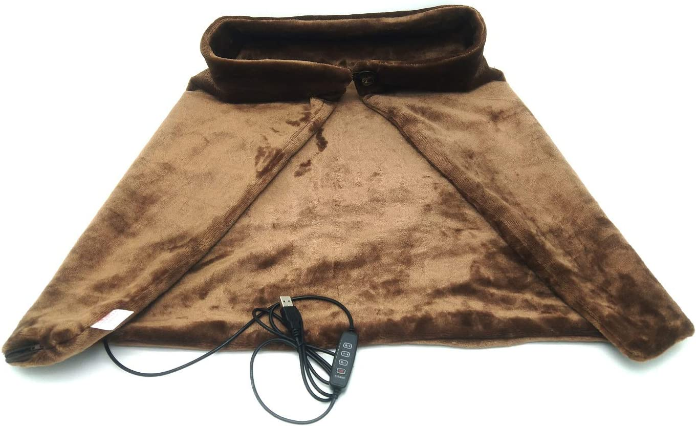 7Buy USB Electric Heated Blankets Shawl Throw, 5V/2A Safety Voltage Heated Seat Cushion for Winter Home Office and Car (3 Heating Levels, Coffee)