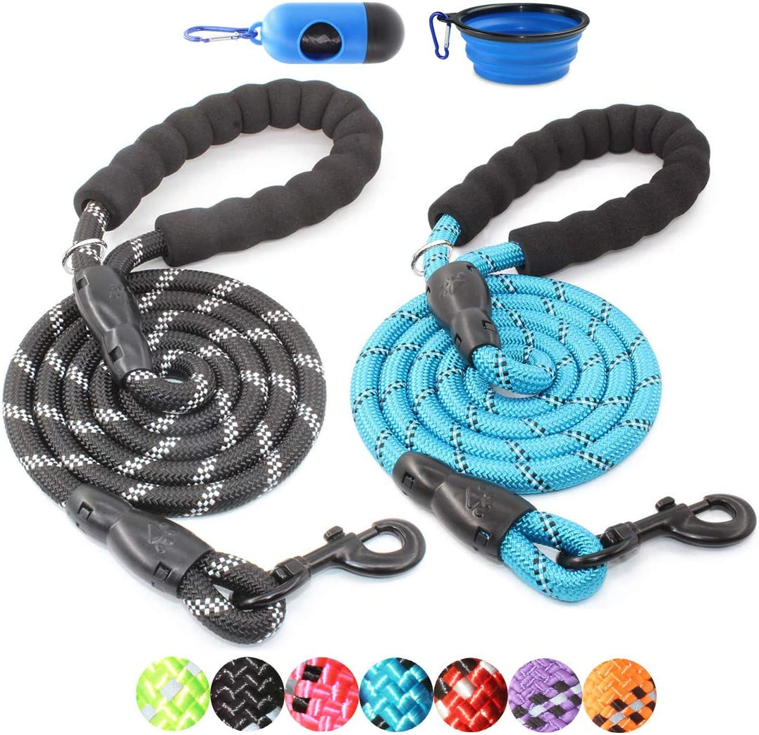 BAAPET 2 Packs 5 FT Strong Dog Leash with Comfortable Padded Handle and Highly Reflective Threads Dog Leashes for Medium and Large Dogs