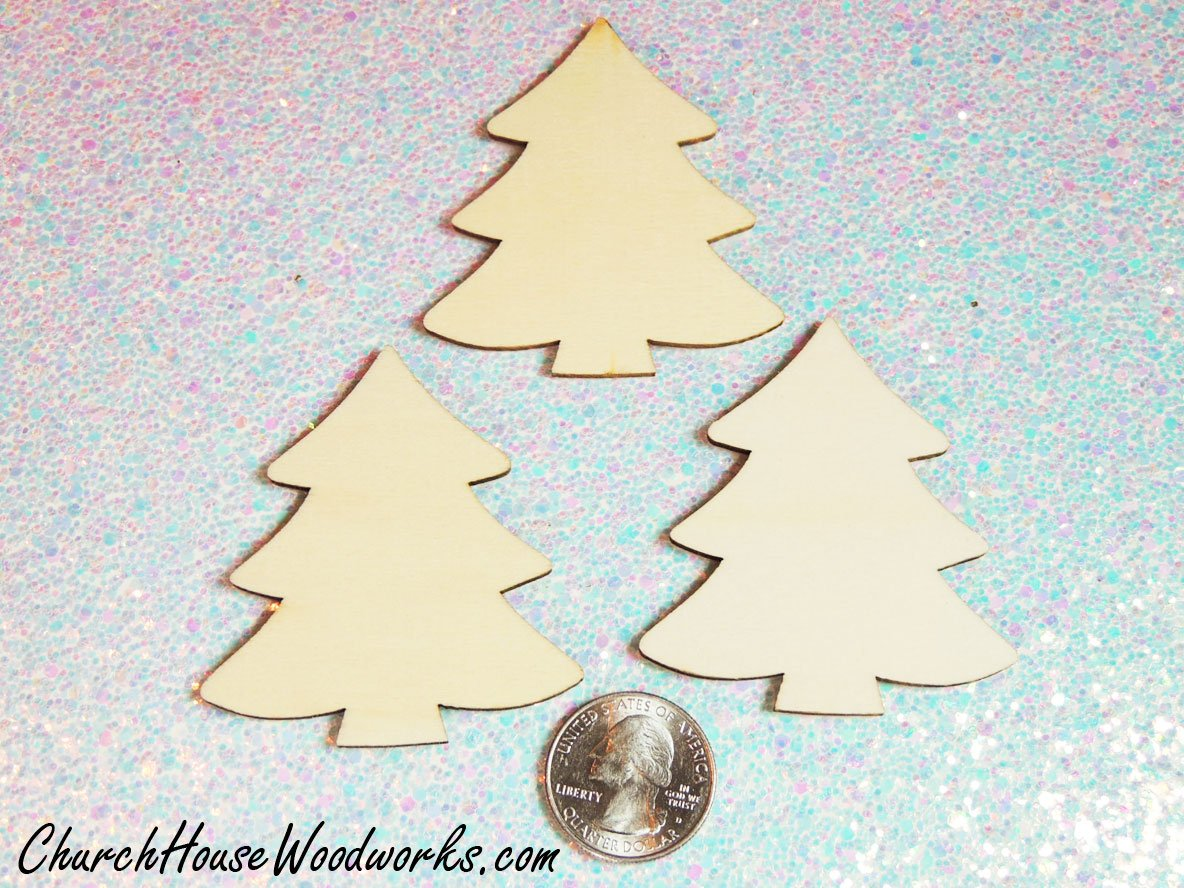 Set of 25-2 Inch Wooden Christmas Trees Supplies Accessories Wood Christmas Tree Ornaments Miniatures Christmas Village Set DIY Craft Idea